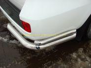Защита заднего бампера уголки двойные 76х42 мм (TOYLC20012-04) для Toyota Land Cruiser 200 2012