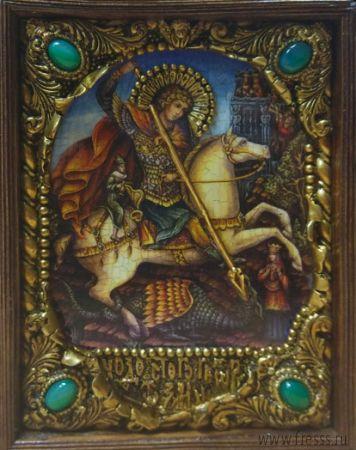 """Икона """"Чудо Святого Георгия о змии"""" 14 х 19 см в киоте, роспись по дереву, самоцветы"""