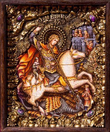 """Икона """"Чудо Святого Георгия о змии"""" 19 х 23 см в киоте, роспись по дереву, самоцветы"""