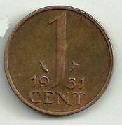 1 цент. 1951 год. Нидерланды.