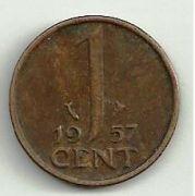 1 цент. 1957 год. Нидерланды.
