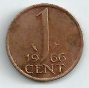1 цент. 1966 год. Нидерланды.