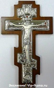 Серебряный православный крест-распятие (7*10см., Россия) с инкрустацией гранатами в дорожном футляре