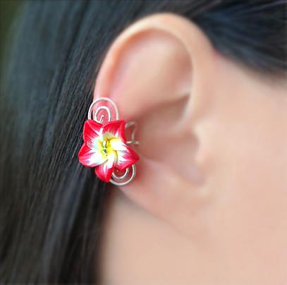 """Кафф """"Гавайский цветок"""" красный"""