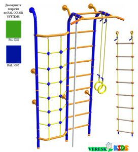 Пристенный с сеткой для лазания (В комплекте с кольцами гимнастическими, канатом, лестницей веревочной)