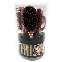 Подарочный набор расчесок для волос Cecilia, 5 шт, Цвет: Бордовый