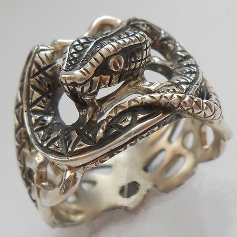 """Кольцо  """"Питон"""" латунь и покрытие под серебро"""