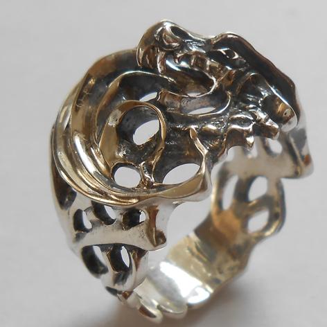 """Кольцо  """"Дракон"""" латунь и покрытие под серебро"""