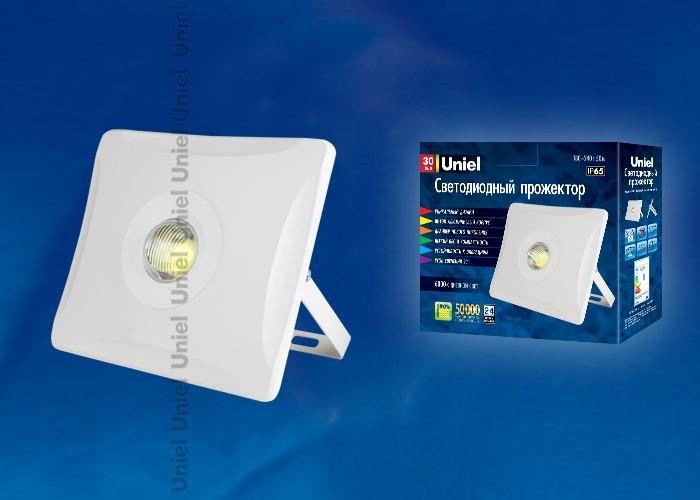 Uniel прожектор св/д плоский 30W(2600lm) 4000K 4K алюминий/белый ULF-F11-30W/NW IP65