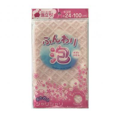 LEC Мочалка для женщин (средней жесткости) 24см*100см, Цвет: Розовый 1шт