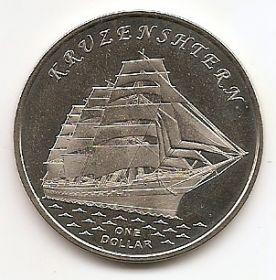 """Барк """"Крузенштерн"""" 1 доллар Острова Гилберта 2018"""