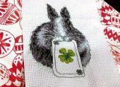 """Схема для вышивания крестиком """"Зайка с клевером"""". Отшив."""
