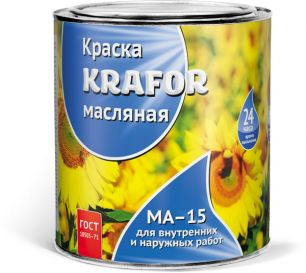 """КРАСКА МА-15  БЕЛАЯ  0,9 КГ (14) """"KRAFOR"""""""