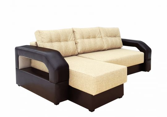 Угловой диван Манчестер с подсветкой бежевый