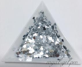 Конфетти сердечки 3mm Heart B0100(Silver)