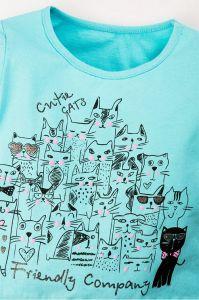Детский лонгслив для девочки голубого цвета с кошками