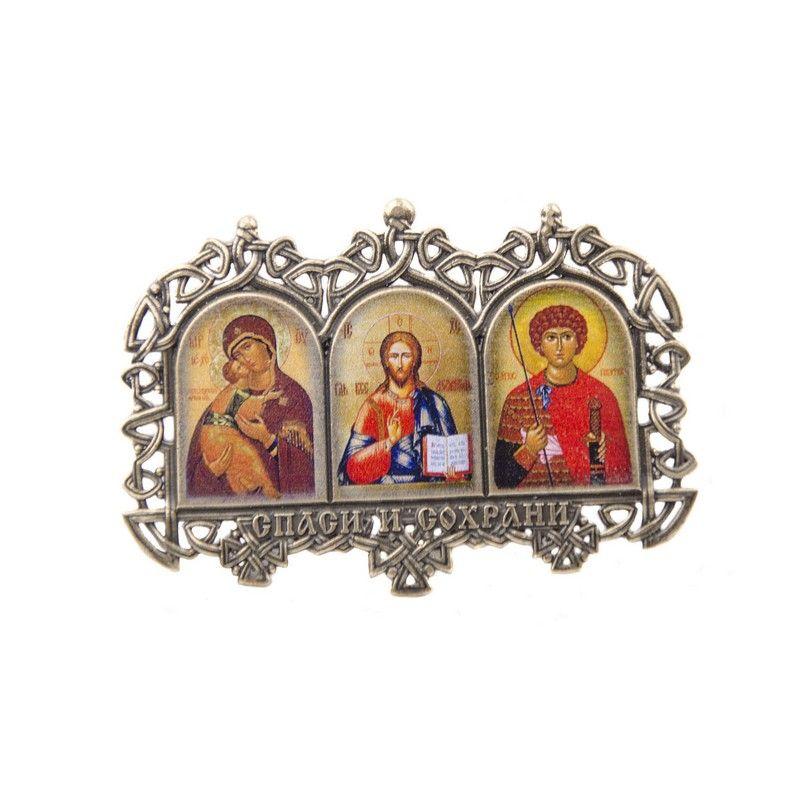 """Иконка тройная """"Казанская, Иисус, Николай"""""""