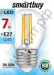 Светодиодная (LED)FIL Лампа Smartbuy G45 07W/4000/ E27 (SBL- G45F-7- 40K-E27)
