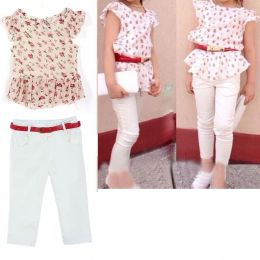 Костюм блуза, штаны, пояс, рост 100, 110, 120