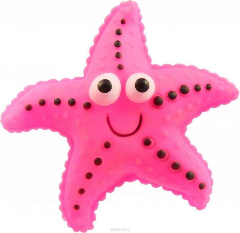 Виниловая игрушка-пищалка для собак Морская Звезда, 12 см, цвет розовый
