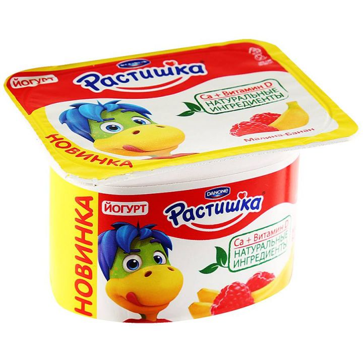 Йогурт Растишка малина/банан 3% 110г Данон Индустрия
