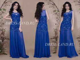 Синее облегающее вечернее платье