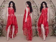 Красное платье с ассиметричным подолом