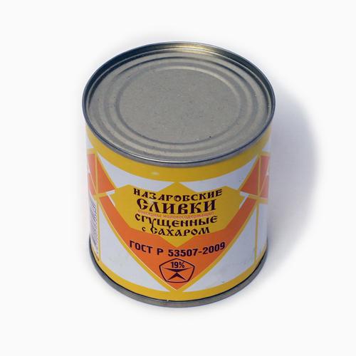 Консервы молокосодержащие сгущенные с сахором и сливками 19% ж/б 345г Назарово