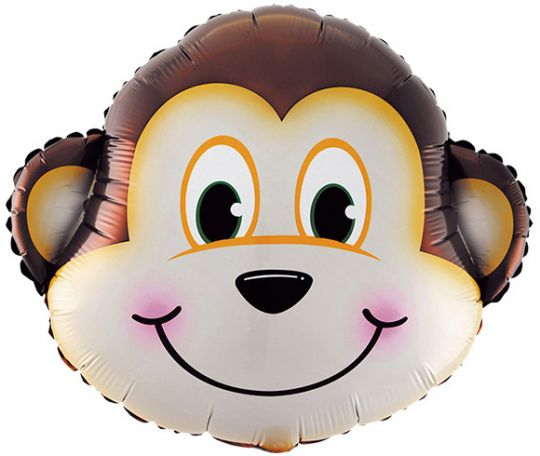 Голова обезьянки шар фольгированный с гелием