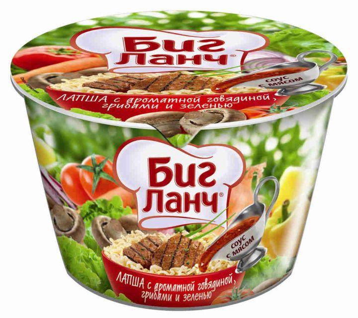Лапша Биг-Ланч говядина/грибы/зелень 90г ООО Кинг Лион Тула