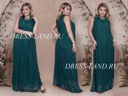Зеленое вечернее платье свободного кроя
