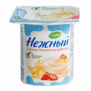 Yoqurt «Нежный» banan və çiyələk suyu ilə 1,2% 0,1 kg