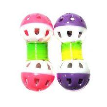 Игрушка для животных с бубенчиком Два шарика на пружинке, 2 шт, Цвет: Розовый-Фиолетовый