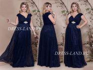 Темно-синее вечернее платье с V-образным декольте