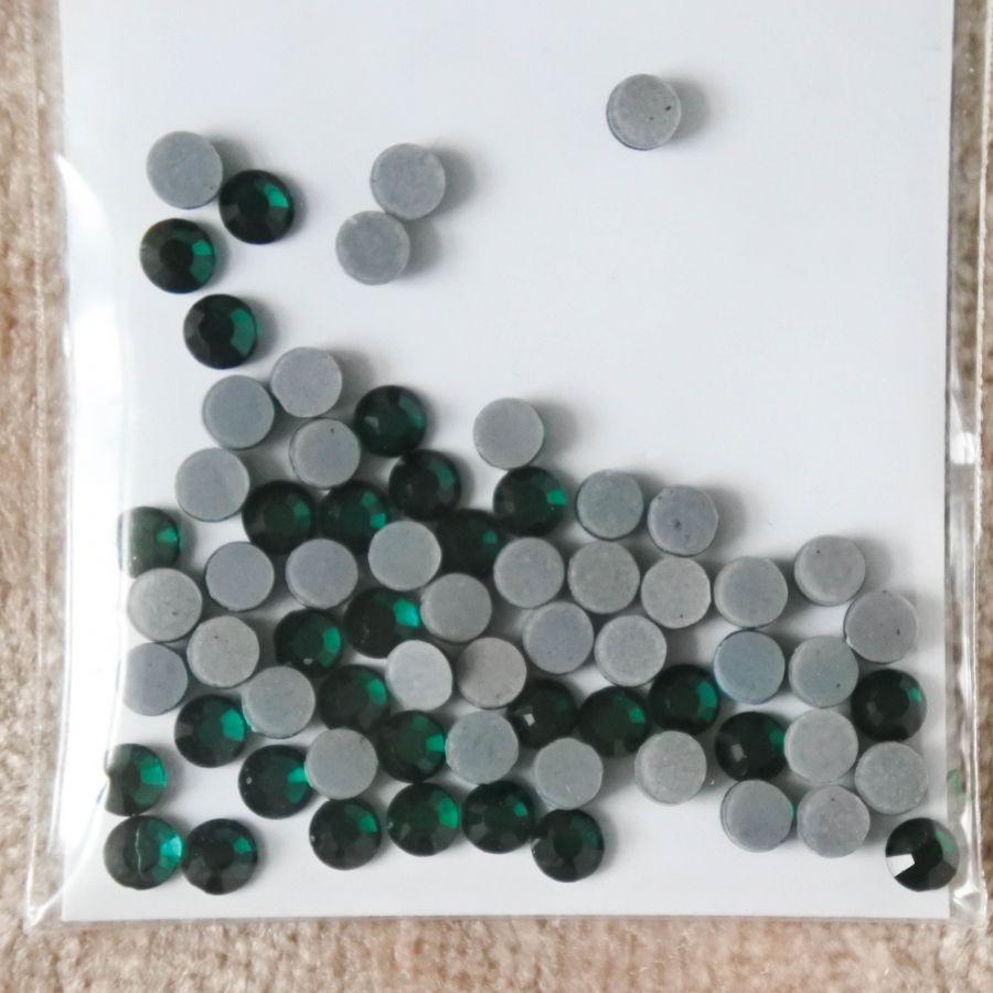 Стразы стеклянные клеевые, цвет Изумруд, SS10, 70 шт/упак