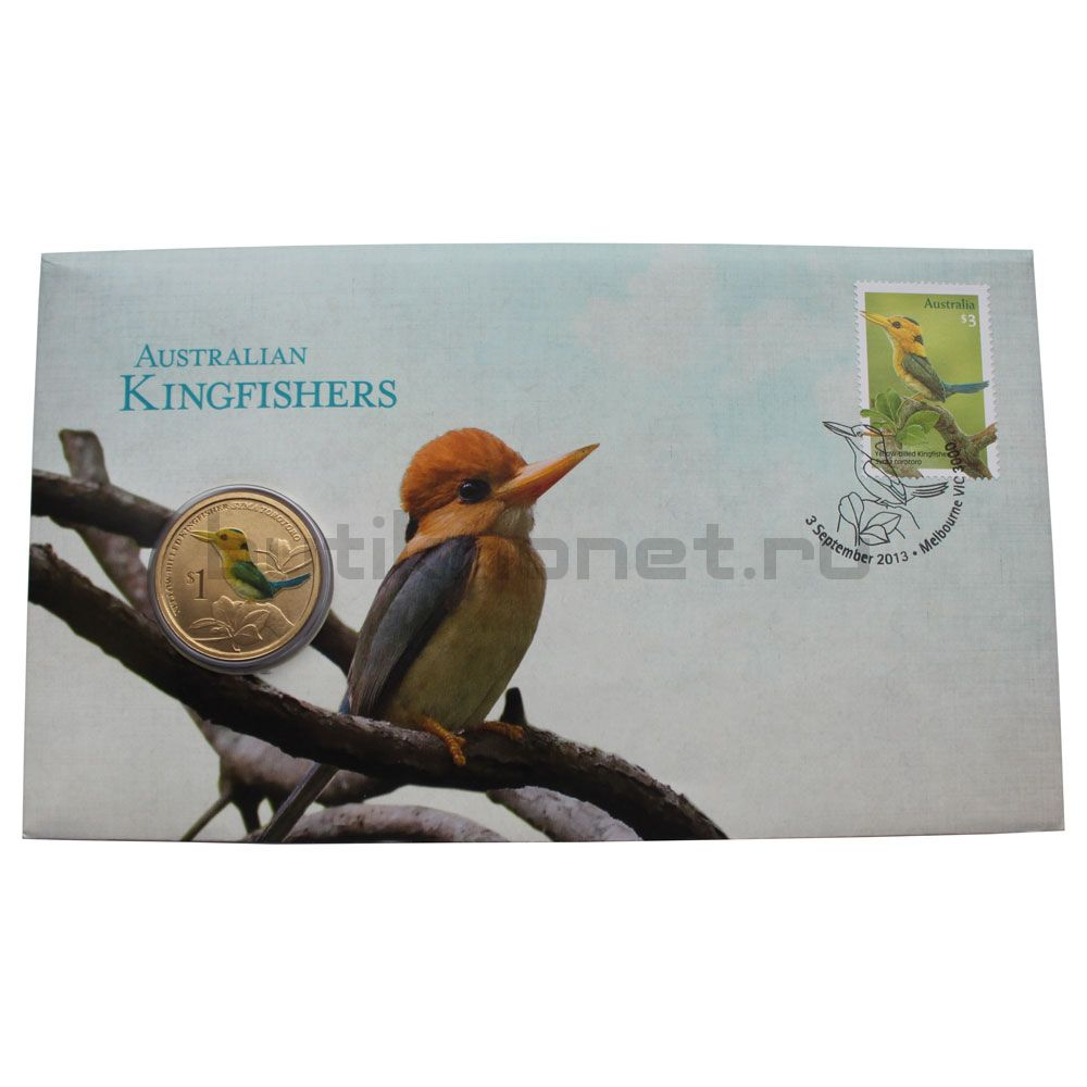 1 доллар 2013 Тувалу Желтоклювый зимородок (Австралийские Водяные Птицы) в буклете