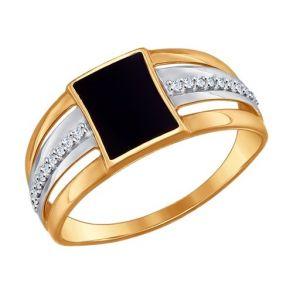 Печатка из золота с эмалью с фианитами SOKOLOV 017173 золото 585