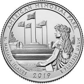 Американский мемориальный парк (Северные Марианские Острова)25 центов США 2019 Двор  S