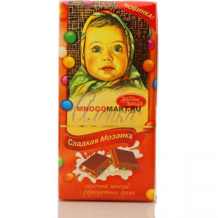 Шоколад Аленка с разноцв.драже 100г Красный Октябрь