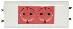 77424 Mosaic Розетка DLP немецкий стандарт 4Х2к+З красная с механической блокировкой Legrand