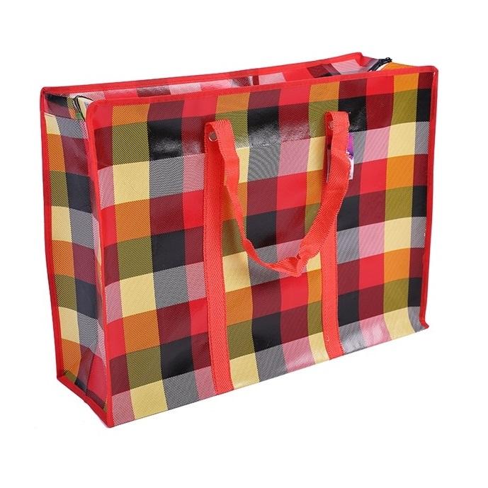 Двухслойная прочная хозяйственная сумка на молнии, 80х55х25 см, цвет красный