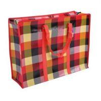 Двухслойная прочная хозяйственная сумка на молнии, цвет красный