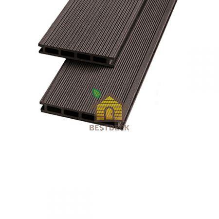 Террасная доска из ДПК 140*22 мм. Шоколад, Брашинг. Экодэк.