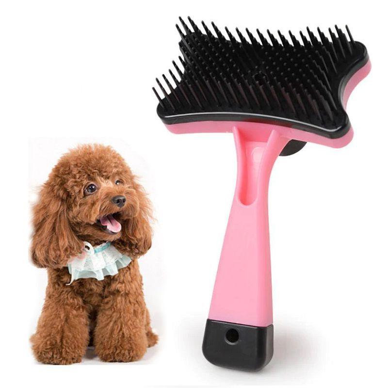 Самоочищающаяся щётка для животных Pet Grooming, цвет розовый