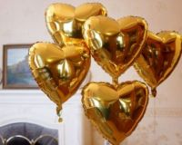 Шар сердце ЗОЛОТО фольга с гелием