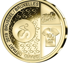 Гранд Депар — место старта 100 лет велогонки Тур де Франс  2,5 евро Бельгия  2019 блистер на заказ