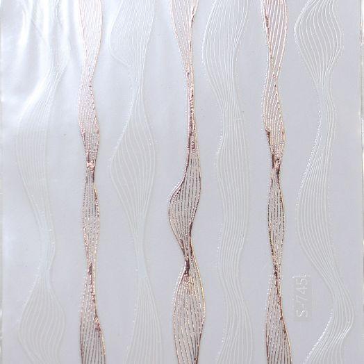 3D наклейки паутинка полоски МИКС белый и розовое золото
