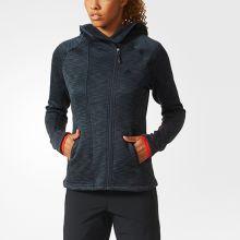 Женская толстовка с капюшоном adidas Women's Climaheat Hooded Fleece Jacket тёмно-серая