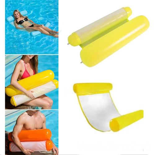 Надувной шезлонг для плавания Floating Bed, желтый 130х73 см