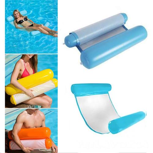 Надувной шезлонг для плавания Floating Bed, голубой 130х73 см